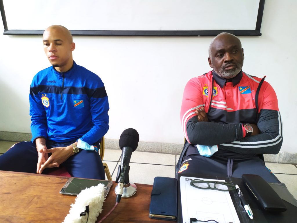Dim 8.03-Marcel Tisserand et Christian N'Sengi en conférence RDC vs Gambie