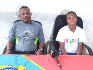 Coach Chicco B Kalunga et sa vice-capitaine Grâce Lubiku
